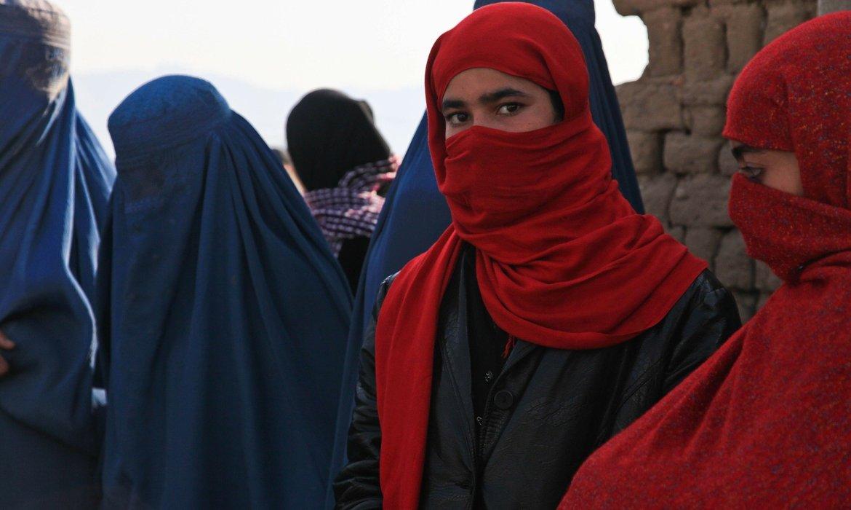 woman in red hijab