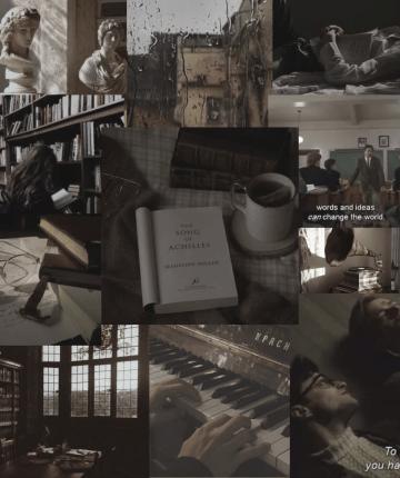 collage of dark academia aesthetic
