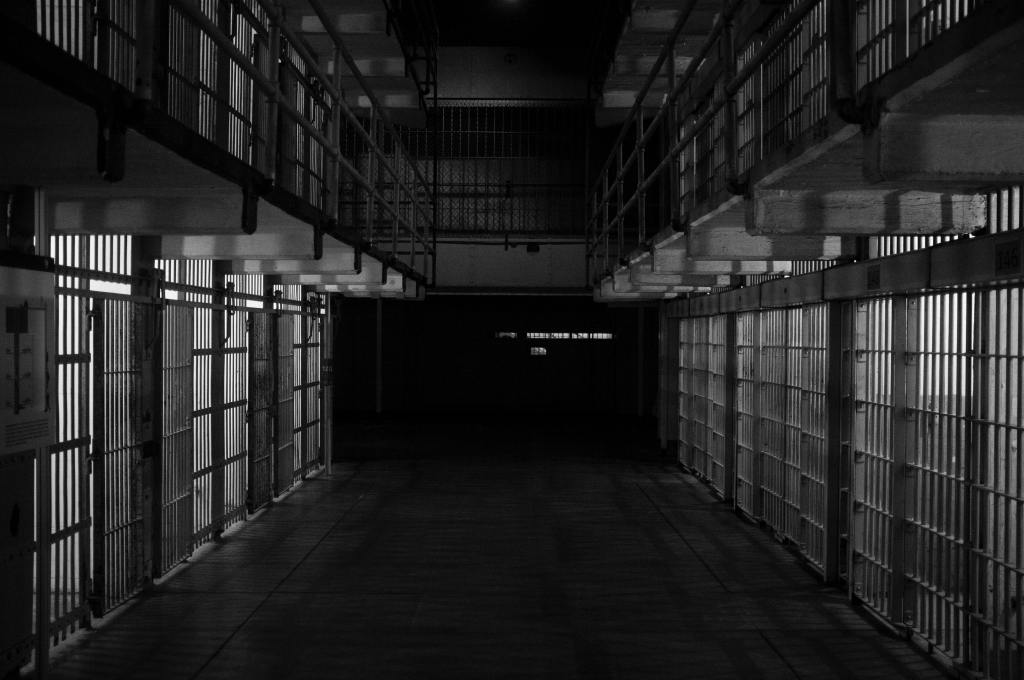 cell block in jail at night