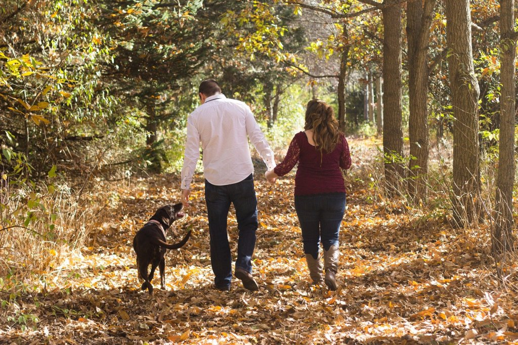 couple with dog walking through forest