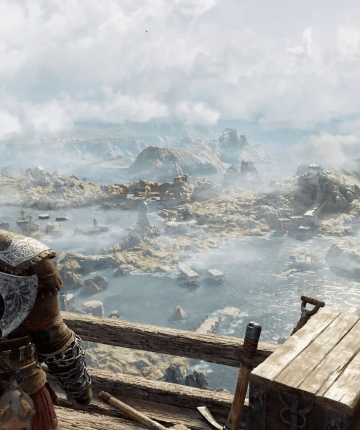 kratos on svartalheim, looking at landscape