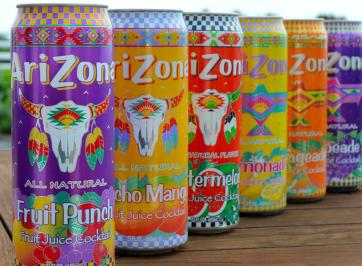 cans of assorted arizona drink flavors