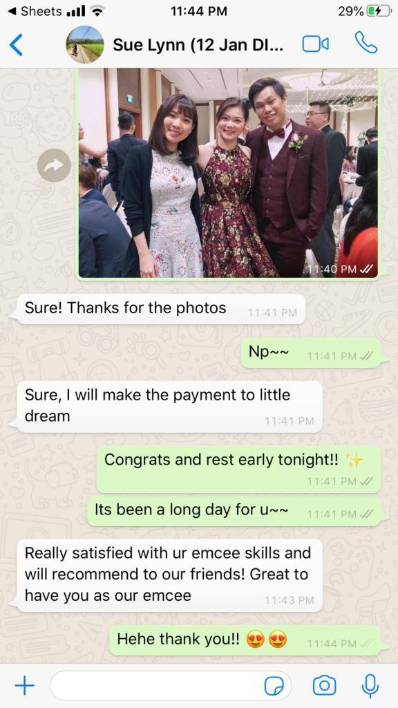 Best Singapore wedding bilingual emcee