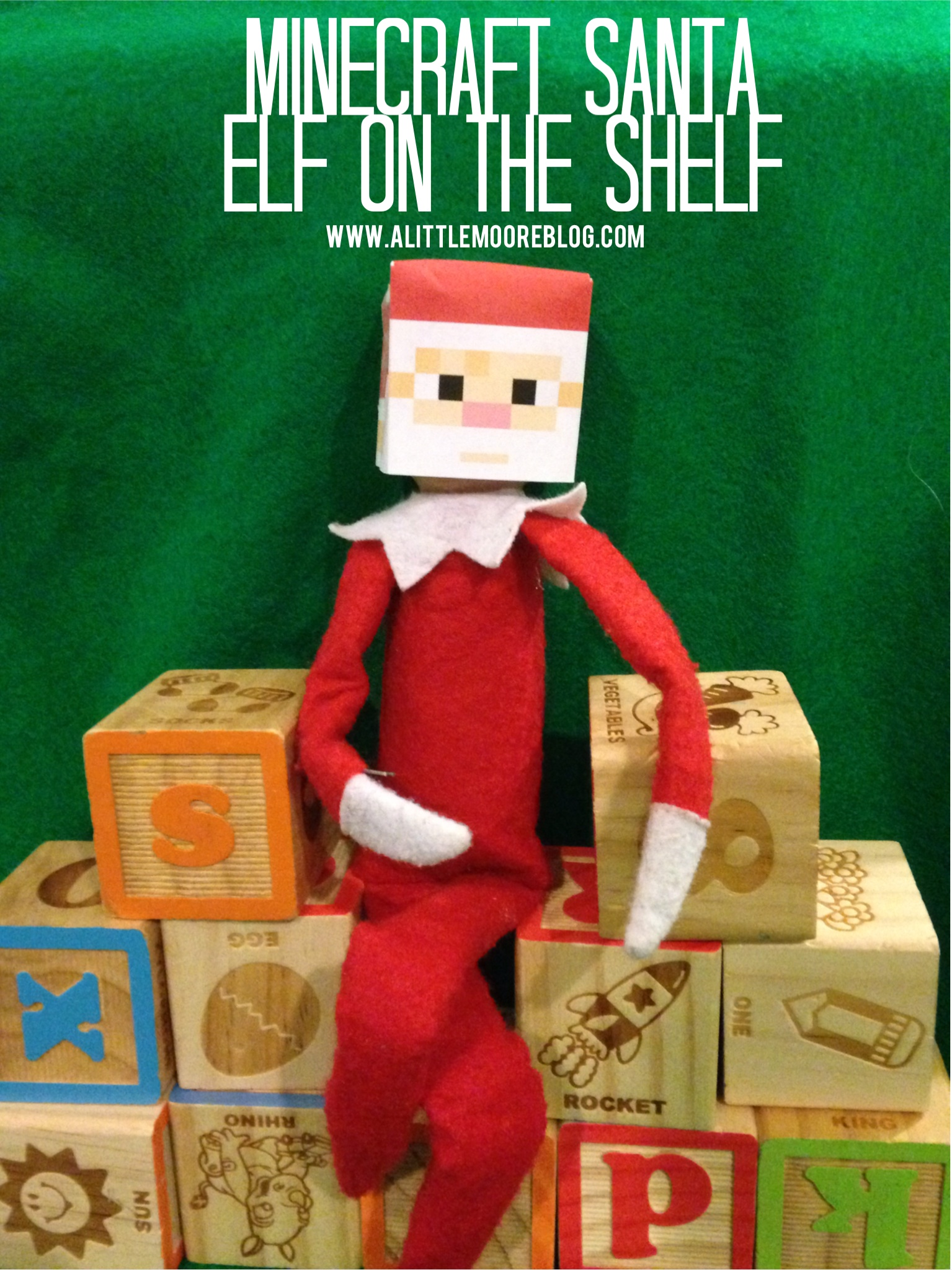 photo about Minecraft Mask Printable known as Elf upon the Shelf: Mine Craft Santa and Absolutely free Printable - A