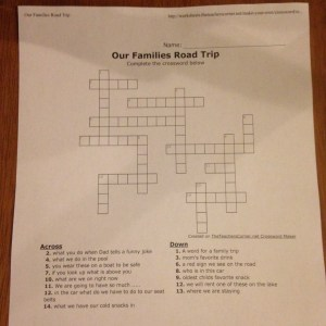 road trip crossword puzzle
