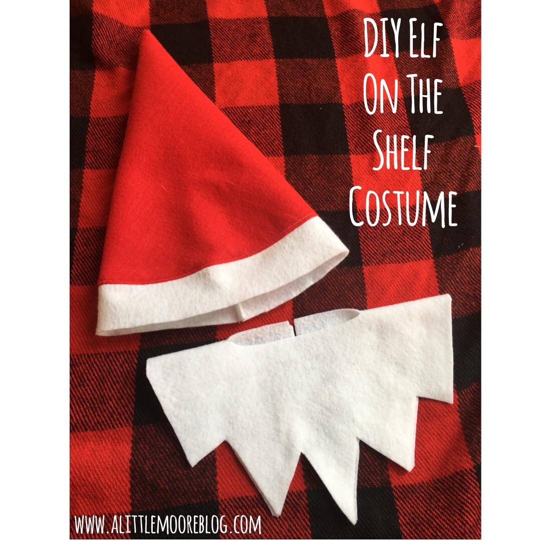 Diy elf on the shelf costume a little moore need a last minute halloween costume that takes minimal time and money then make yourself an elf all you need is a red shirt and pants and red and white solutioingenieria Image collections