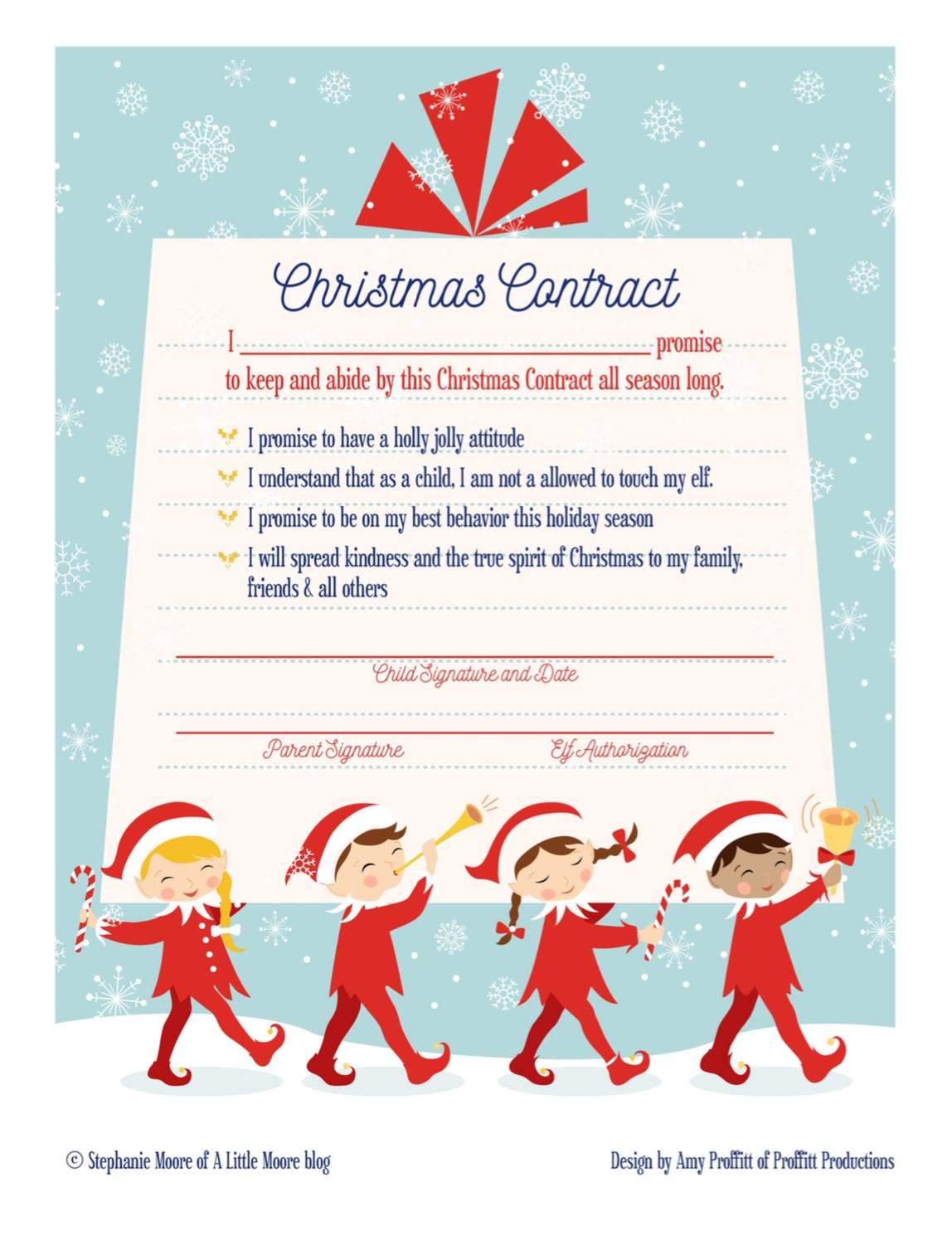 Elf on the Shelf Arrival Christmas Contract - A Little Moore