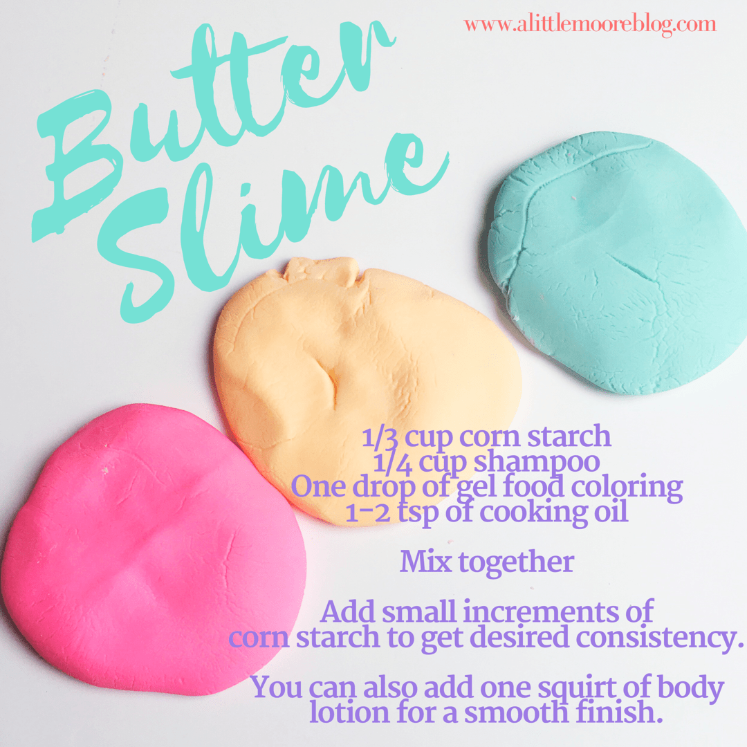 Soft and stretchy butter slime recipe a little moore my kids have been slime crazy this past year but every recipe has been goopy stained our hands or has been full of chemicals so when my teen asked for ccuart Choice Image