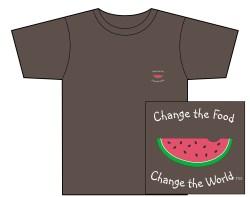 "Men""s Change the Food, Change the World Short Sleeve Tee – Espresso – Small Design"