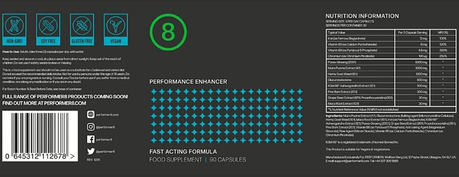 Performer 8 Supplement Facts Label