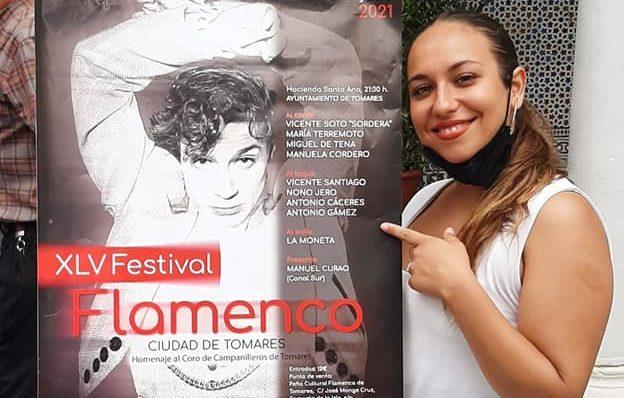 La cantaora María Terremoto durante la presentación del Festival Ciudad de Tomares.