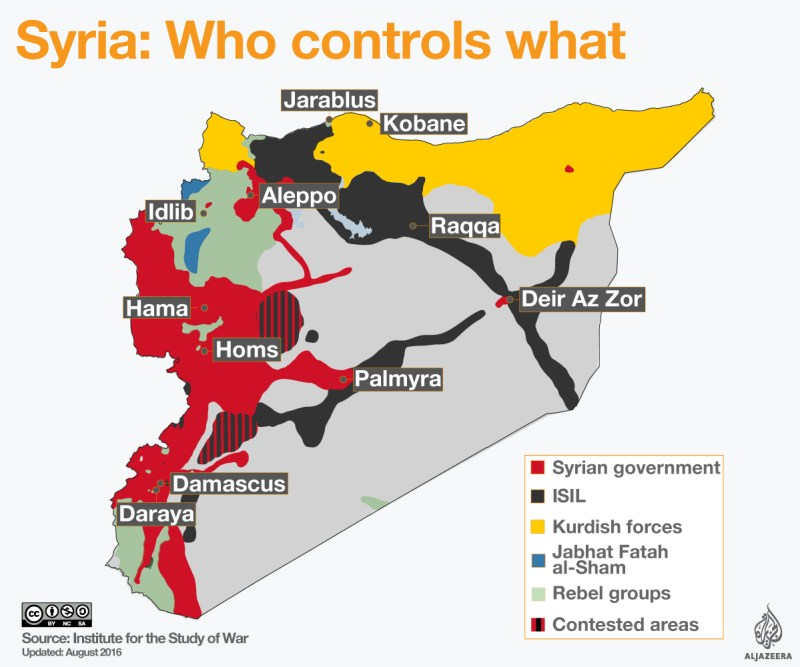 Syrian war map about who controls what area.