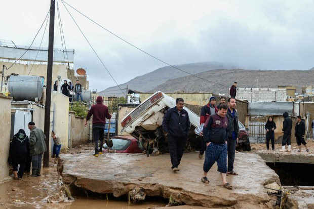 Iranian media reports said the floods have cut off some 80 intercity roads, as well as roads to nearly 2,200 villages. [Tasnim News Agency/Reuters]
