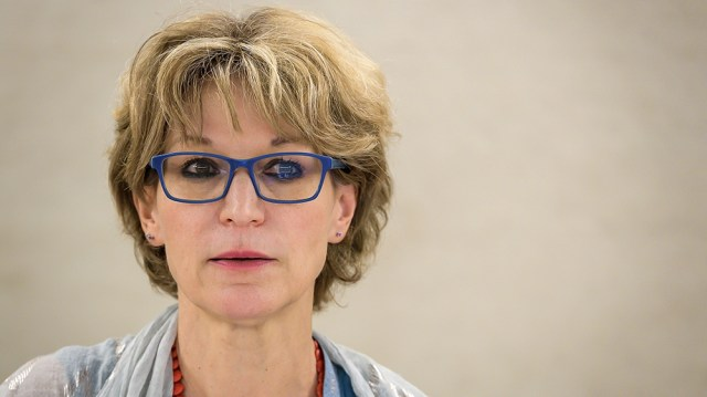 United Nations (UN) special rapporteur on extrajudicial, summary or arbitrary executions Agnes Callamard looks on as she delivers her report of the killing of Saudi journalist Jamal Khashoggi during t