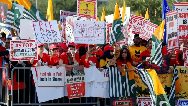 Counter-demonstrators protest during a