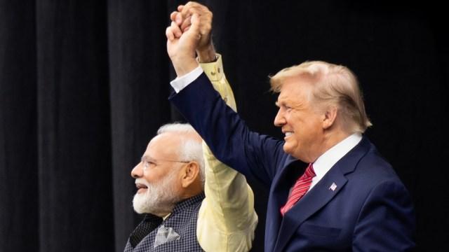 US President Donald Trump and Indian Prime Minister Narendra Modi attend