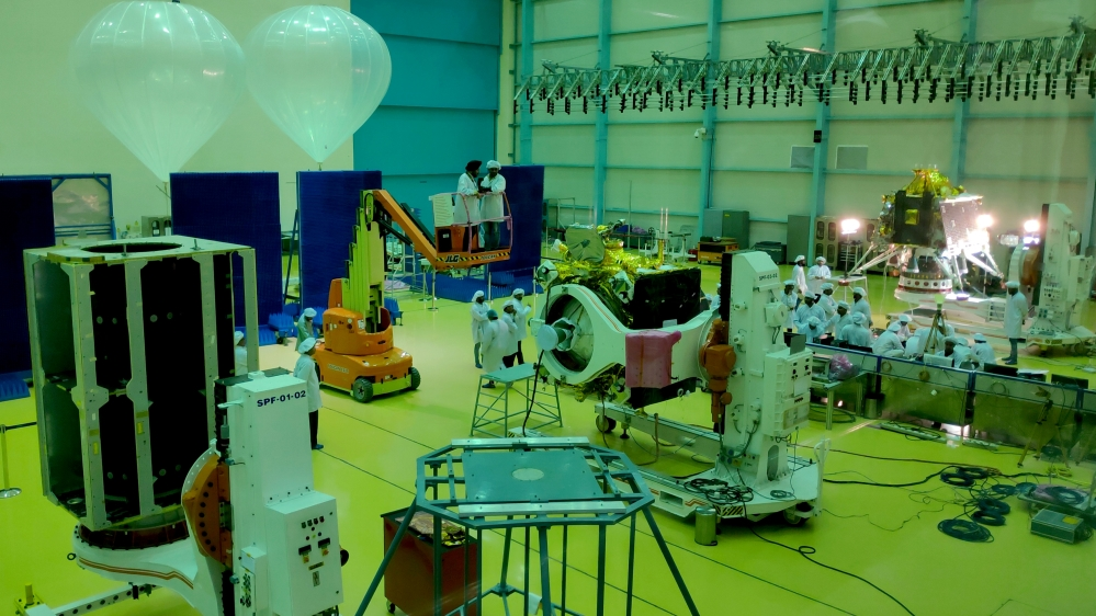Indian Space Research Organization (ISRO) scientists work on various modules of lunar mission Chandrayaan-2 at ISRO Satellite Integration and Test Establishment (ISITE) in Bengaluru