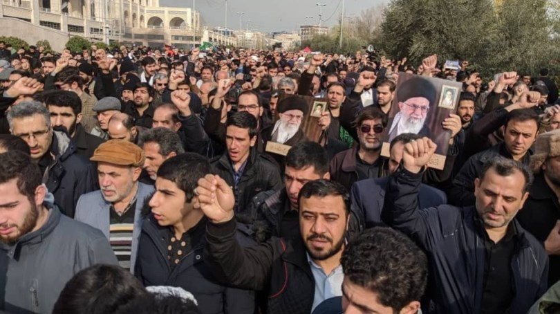 Protesters demonstrate over the U.S. airstrike in Iraq that killed Iranian Revolutionary Guard Gen. Qassem Soleimani in Tehran, Iran, Jan. 3, 2020. Iran has vowed