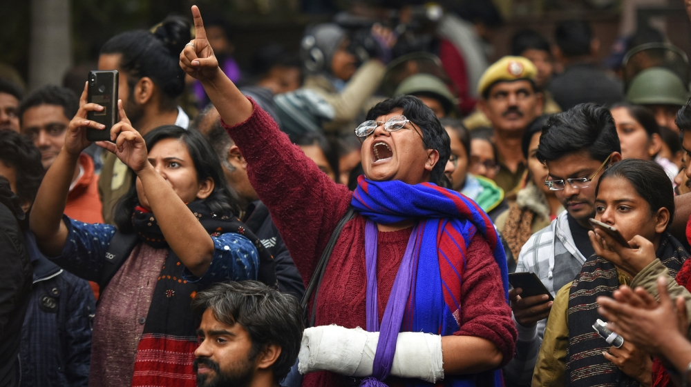 Members of Jawaharlal Nehru University Students Union (JNUSU) shout slogans during a protest against the attack on JNU, at JNU campus on January 6, 2020 in New Delhi, India. On Sunday, a mob of masked