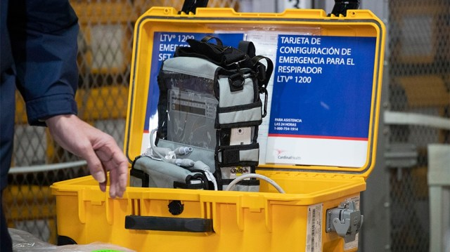 A ventilator is displayed during a news conference, Tuesday, March 24, 2020 at the New York City Emergency Management Warehouse, where 400 ventilators have arrived and will be distributed.  Gov. Andre