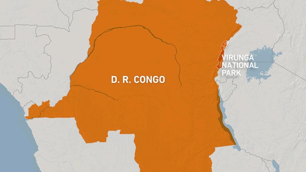 Map of Virunga National Park, Democratic Republic of Congo