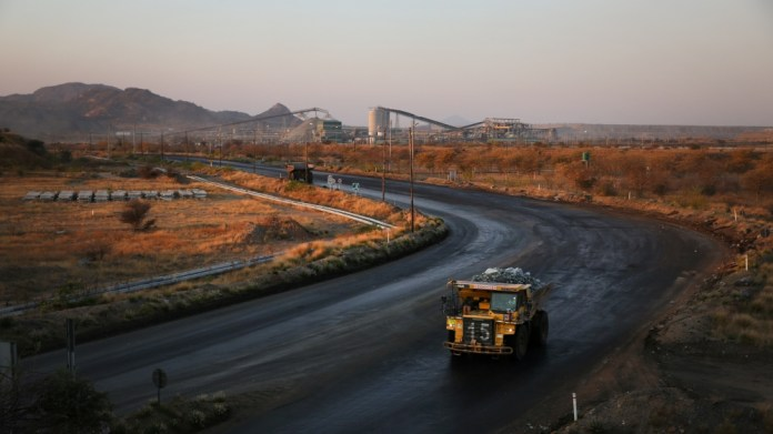 A haul truck is seen at the Mogalakwena platinum mine in Mokopane