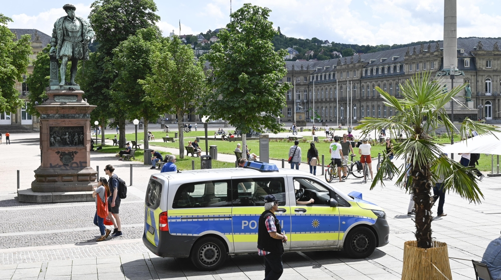 Police patrols on the Castle Square (Schlossplatz) in Stuttgart, southern Germany on June 21, 2020, after hundreds of people ran riot in Stuttgart's city centre earlier in the night throwing stones an