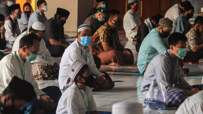Eid al-Adha prayer amid coronavirus outbreak in Surabaya, Indonesia