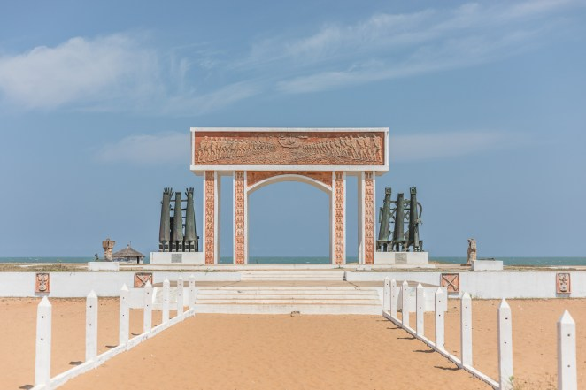 "The 'The door of no return' memorial on the beach of Ouidah. ""Our children know nothing of all that. Slavery must be taught in school and more than in just a few lessons,"" said Benoit Daounde, a UN official who returned to Benin on holiday from his posting in Cameroon. [Yanick Folly/AFP]"