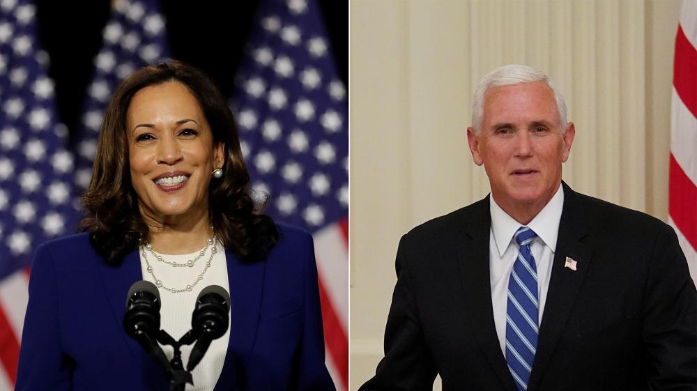 کملا ہیرس اور امریکی نائب صدر مائک پینس