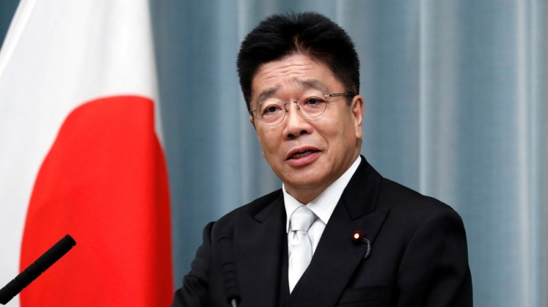 Japan's Health, Labour and Welfare Minister Kato attends a news conference at PM Abe's official residence in Tokyo