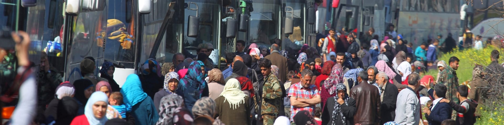 Buses from Foua and Kefraya were headed to government-controlled Aleppo [Thiqa News via AP]