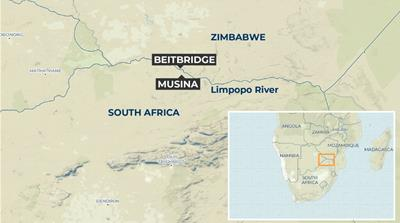 MAP - Zimbabwe-South Africa border