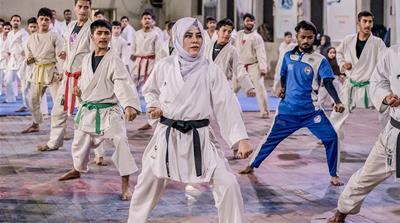 Pakistani woman karate champion [Shameen Khan/Al Jazeera]