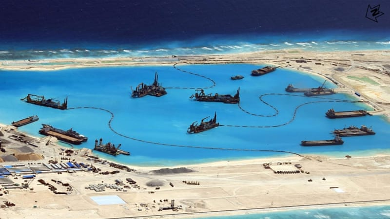 Construction at Fiery Cross Reef in the disputed Spratly Islands in the South China Sea by China [EPA]