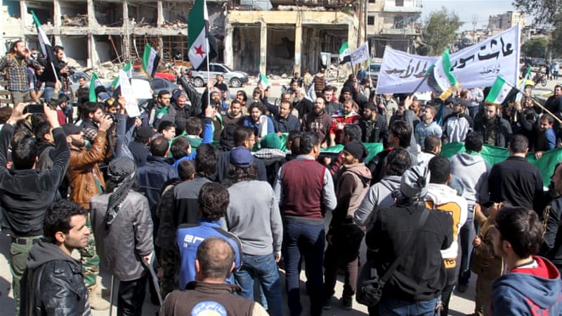 The truce in Syria has allowed for protests to resume after years amid a reduction in violence [Abdalrhman Ismail/Reuters]