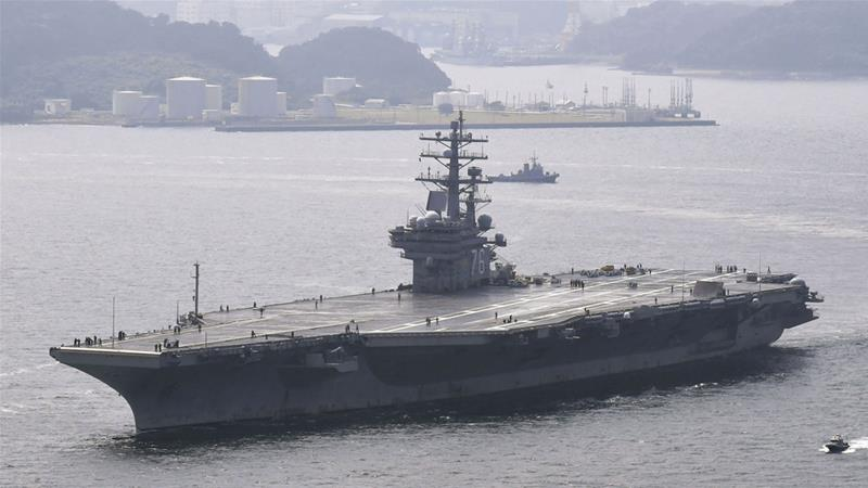 USS Ronald Reagan, a nuclear-powered super-carrier, is part of the exercises off the Korean Peninsula [File: Kyodo news agency via Reuters]
