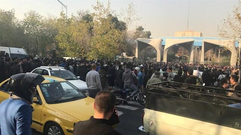 A protest near Tehran University in Iran's capital [Reuters]