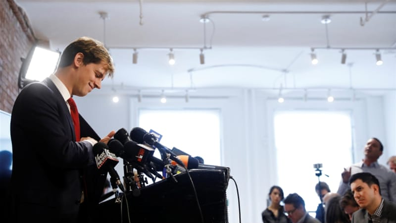 Milo Yiannopoulos addresses the media during a news conference in New York on February 21 [Lucas Jackson/Reuters]
