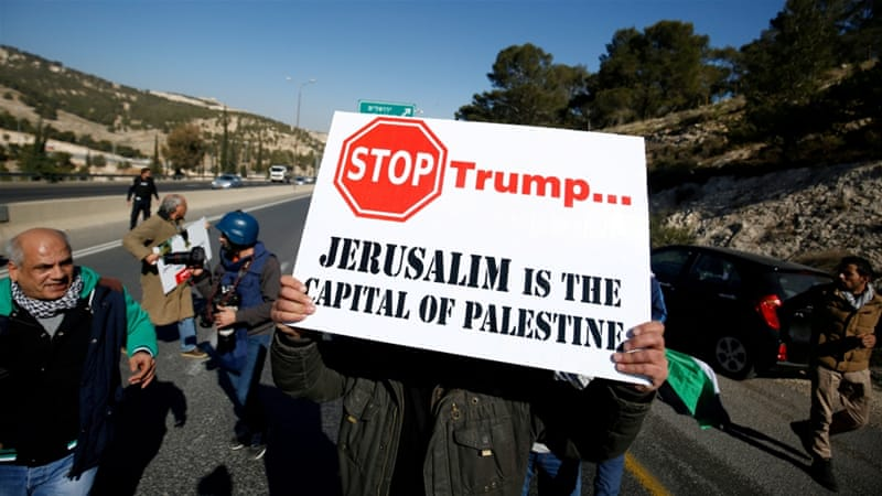 Palestinians fiercely oppose a US embassy move to Jerusalem [Mohamad Torokman/Reuters]