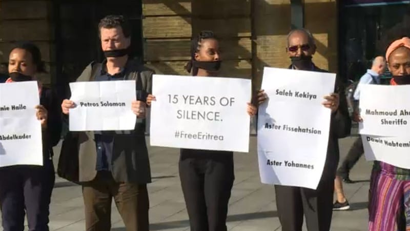 Vanessa Berhe, centre, calls on the government to reveal the fate of dissidents who were detained 15 years ago and have been held incommunicado without trial [AFP]