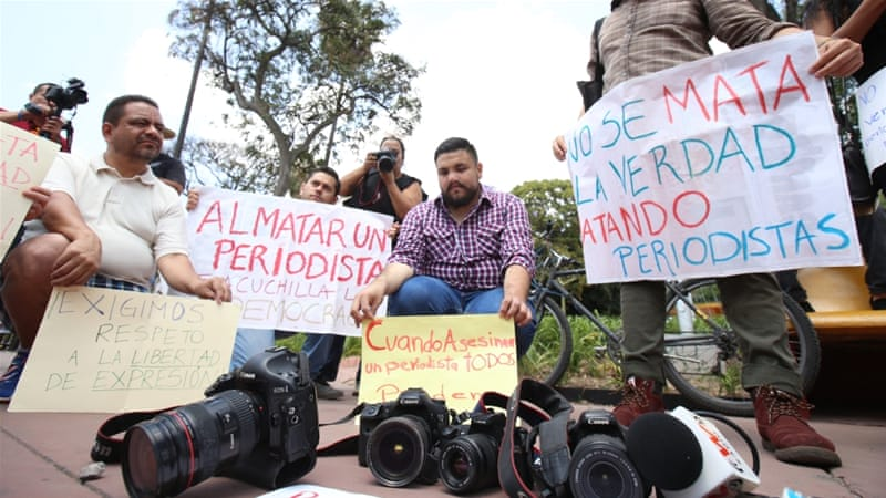 Mexican journalists protest after the killing of three of their colleagues in March [File: EPA]