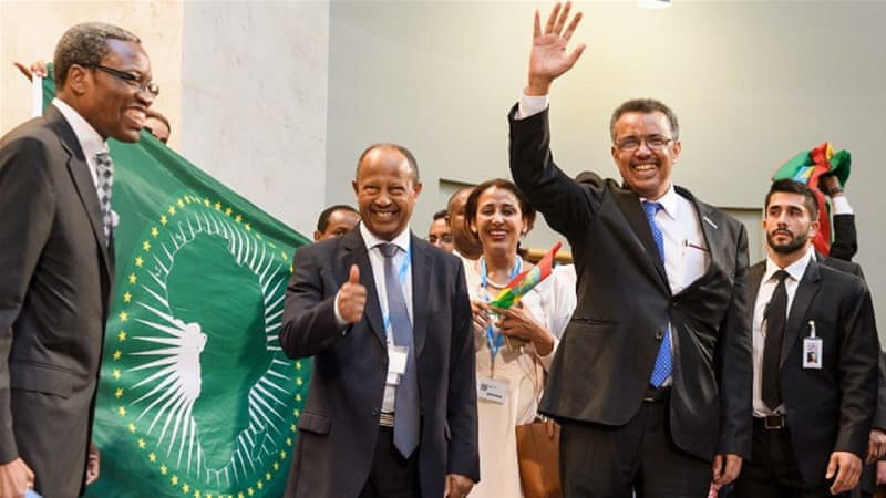 Tedros won a decisive third-round election to beat the UK's David Nabarro to the job [Fabrice Coffrini/AFP]