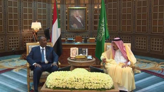 King Salman held talks with Abdel Fattah al-Burhan in Riyadh [Screengrab/AFP]