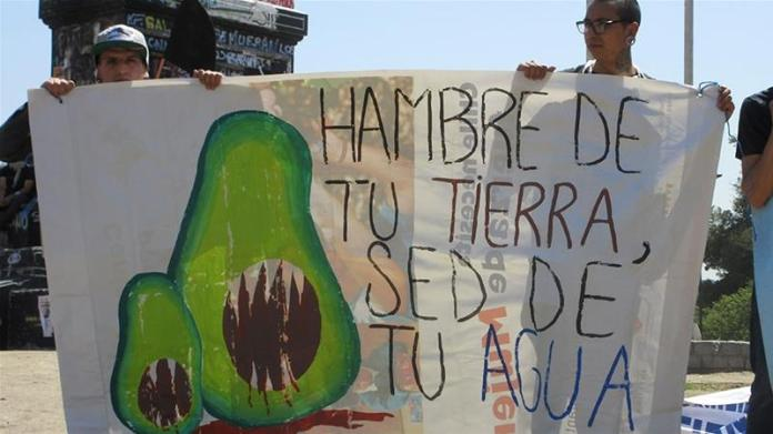 Activists, holding a sign that reads 'Hunger for your land, thirst for your water', protest for environmental justice in front of the plaza monument that has become an icon of Santiago protests [Sandra Cuffe/Al Jazeera]