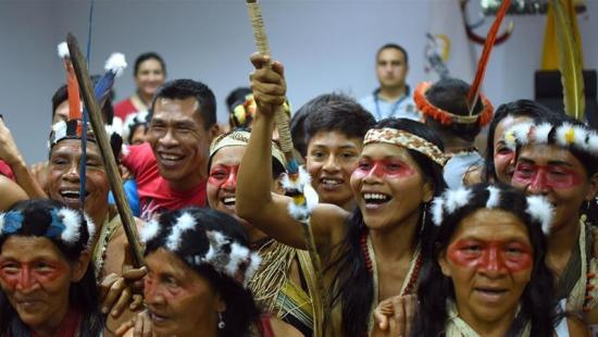 Waorani community members react after the ruling [Courtesy of Amazon Frontlines]