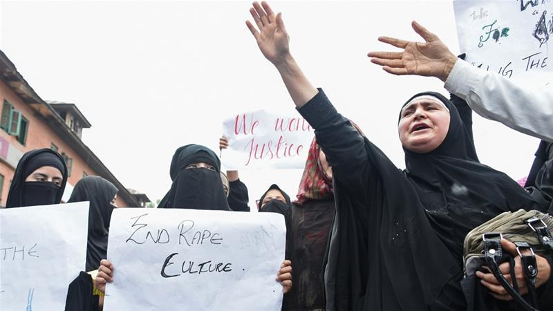 Kashmiri protesters call for justice in the case of the alleged rape of a three-year-old girl [Tauseef Mustafa/AFP]