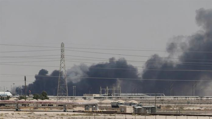 Smoke is seen following a fire at Aramco facility in the eastern city of Abqaiq, Saudi Arabia, September 14, 2019 [File: Reuters]