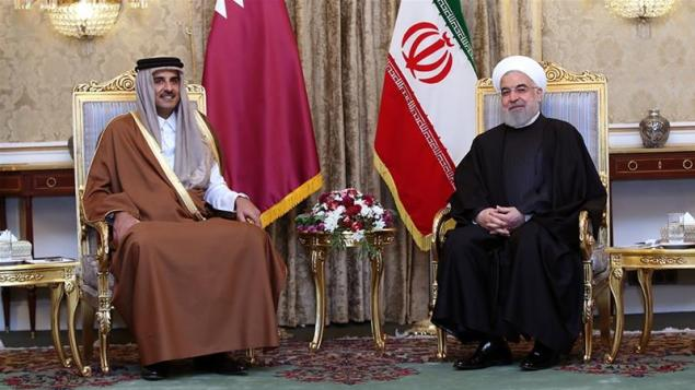 The Qatari emir will hold talks with Iranian President Hassan Rouhani [Handout via Reuters]