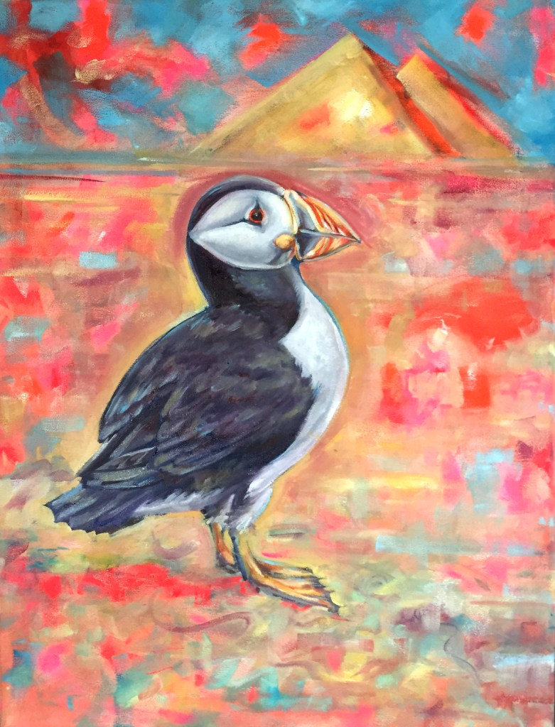 Puffin. Oil and Acrylics on canvas. 60x40 cm